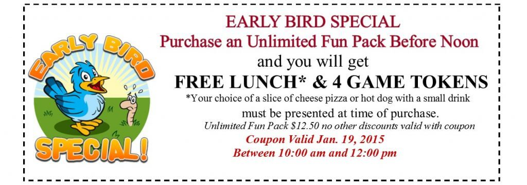 early bird coupon MLK 1.19.15