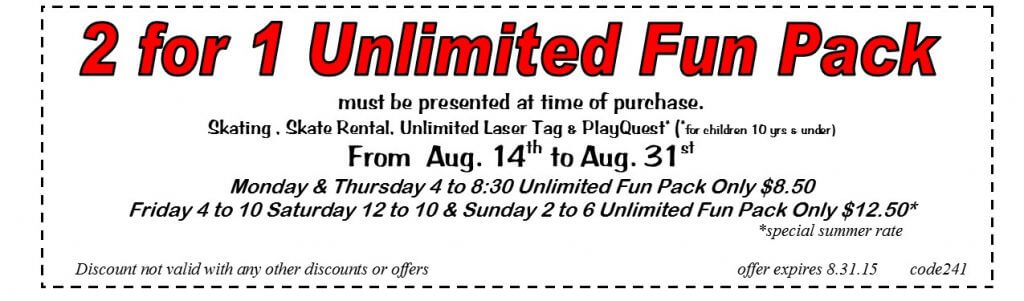 2 for 1 unlimited special aug 2015