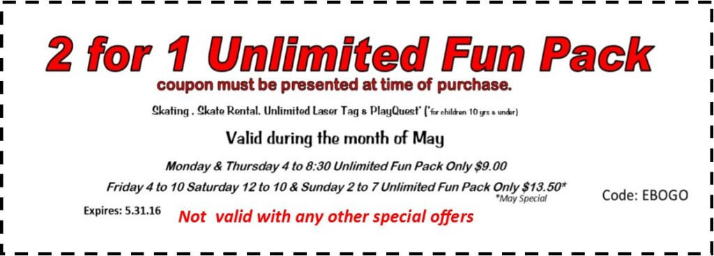2 for 1 unlimited 5-16. coupon