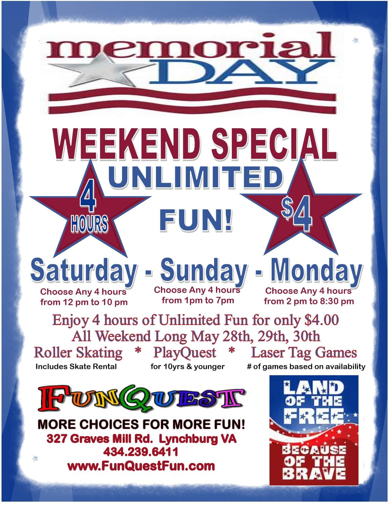 Mermorial Day Weekend $4 Unlimited 2016 (1)