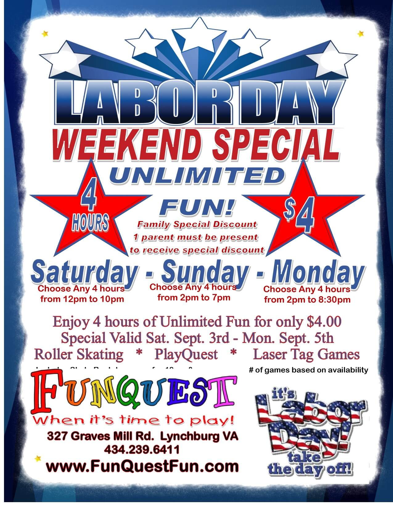 Labor Day Weekend $4 Unlimited 2016