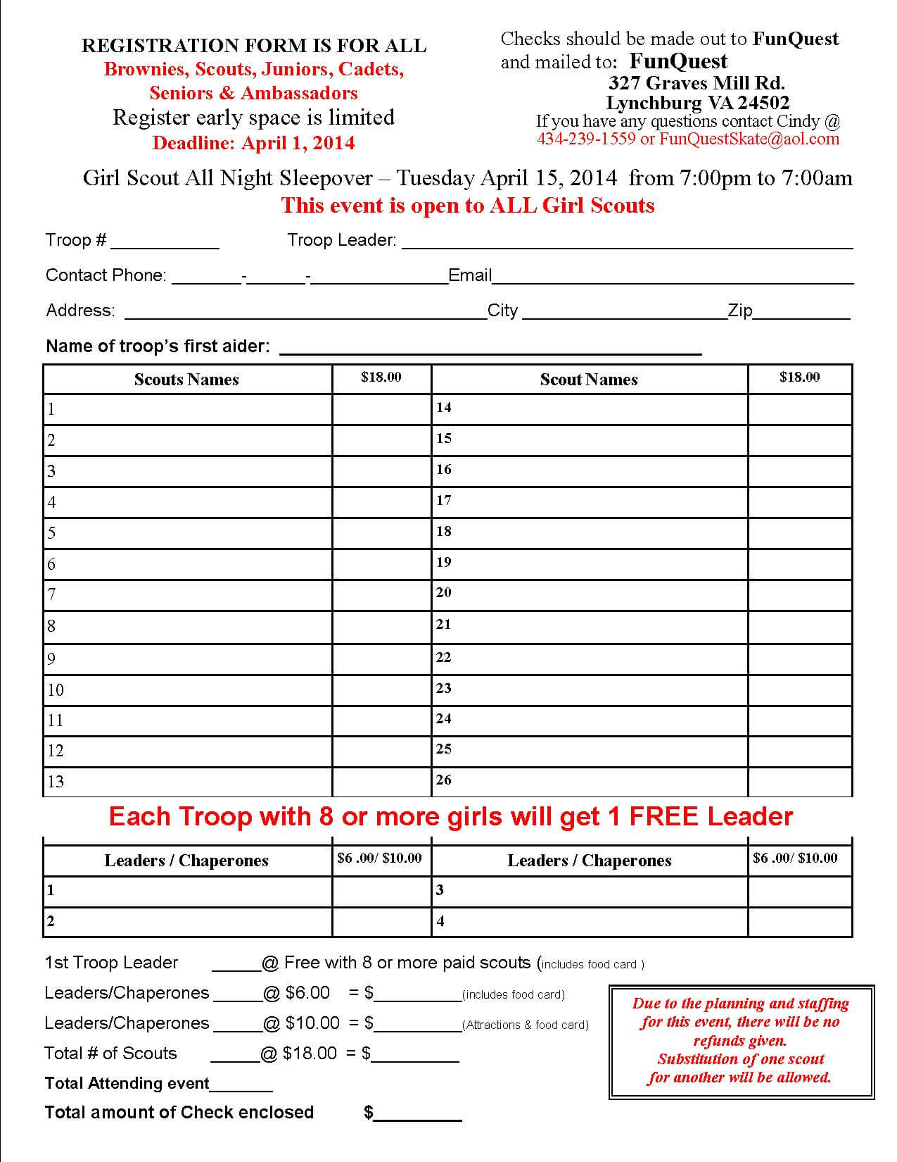2014 Girl Scout All Night Event Registration