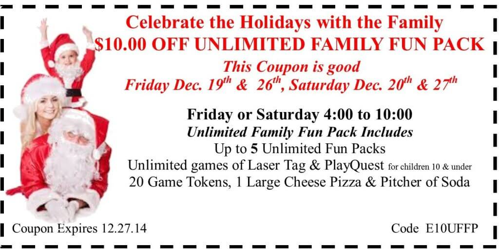 10.00 off family fun pack Holiday 2014