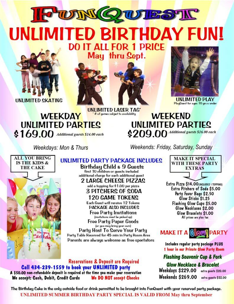 Unlimited Parties available May through September
